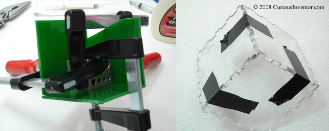Clamp or tape the acrylic before applying acetone