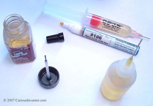 Flux applicators: needle bottle, paste syringe, flux pen, and brush