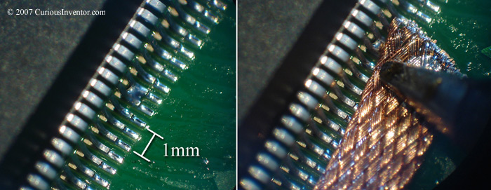 Removing a solder bridge on a fine pitch QFP with wick / braid
