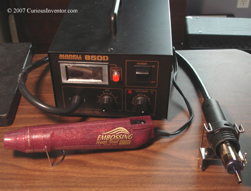 A hot air station and embossing tool
