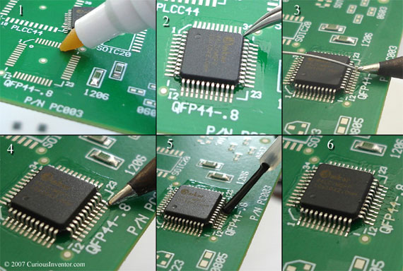 The basic steps for soldering QFP