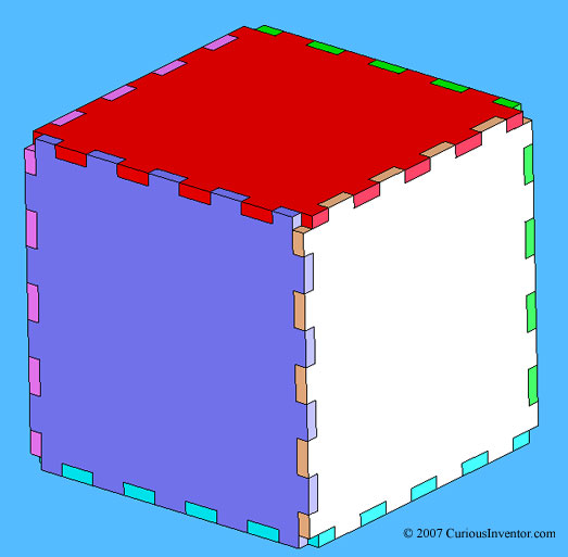 6 pieces with a square-wave pattern fit together to form a box