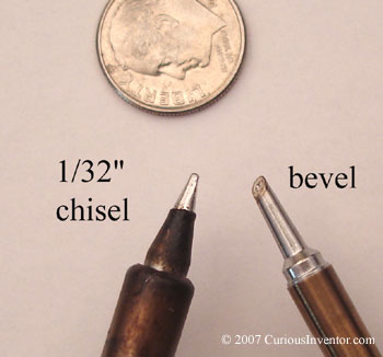 Chisel tip and bevel tip for surface mount soldering